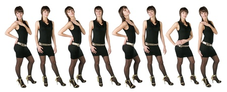 sissy: Eight identical girls of models in a black dress pose on a white background