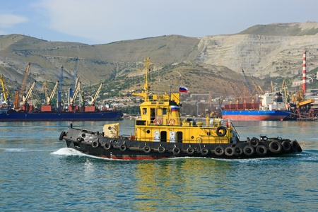 The ship floats on the Black sea about port the cities of Novorossiysk  Russia