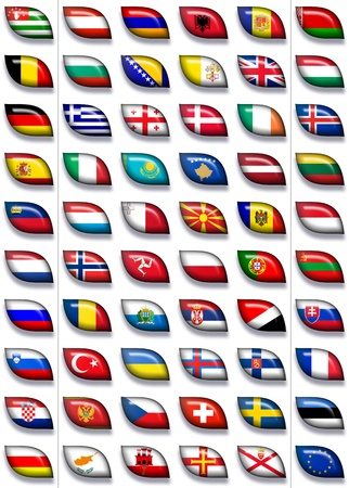 recognised: 60 flags icons  buttons  of Europe 600x504 pixels including not recognised countries