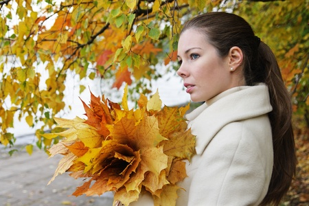 Portrait of the girl with autumn leaves photo