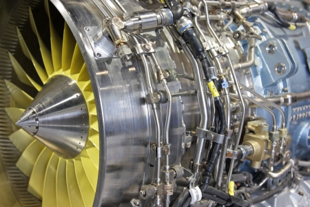 complex: Detailed exposure of a turbo jet engine