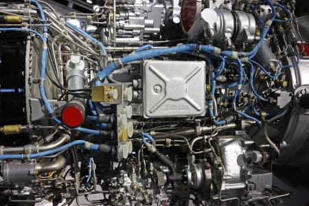 chamber of the engine: Detailed exposure of a turbo jet engine  Technogenic background Stock Photo