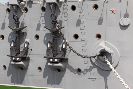 Two big anchors onboard the old ship 写真素材