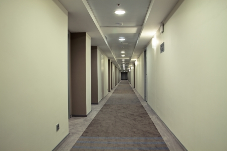 Very long corridor in a hotel