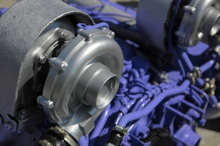 One of turbochargers the powerful engine. Small depth of sharpness.
