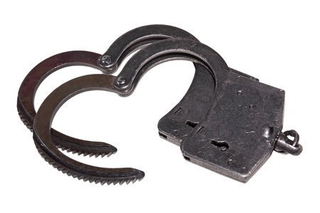 culprit: Black handcuffs isolated on white background