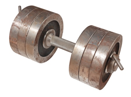 The big heavy old rusty dumbbell, it is isolated on a white background Stock Photo