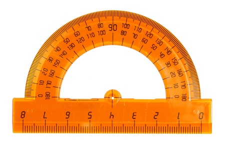 Orange plastic protractor, isolated on a white background