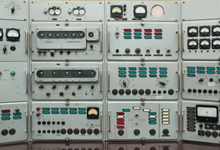 Old control panel the Soviet ballistic missiles. This device has been made of the Caribbean crisis. Stock Photo