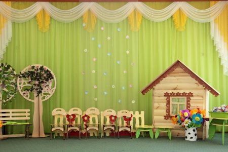 The empty decorated room in a kindergarten