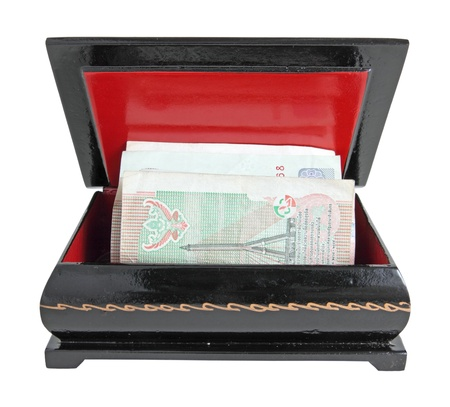 Open casket with money, isolated on a white background photo