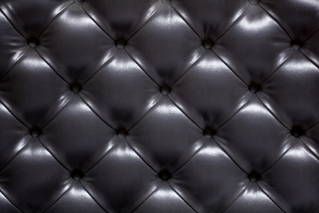 Black leather upholstery of a sofa Stock Photo
