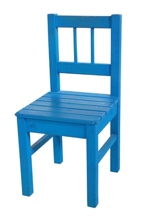 Dark blue childrens chair, isolated on a white background