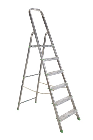 Aluminium dirty step-ladder, it is isolated on a white background