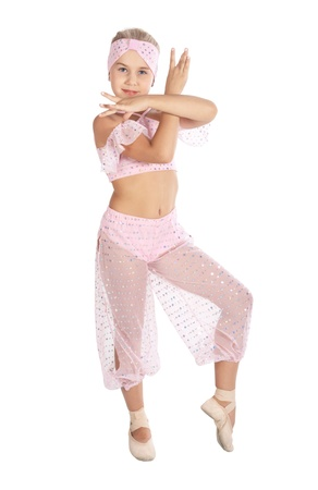 The girl in a pink dancing suit, is isolated on a white background Imagens