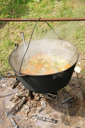 Ear cooks in a kettle on a fire photo