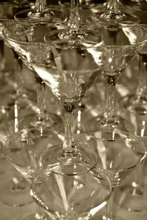 stemware: Glass glasses   Sepia  Small depth of sharpness