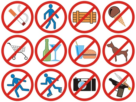 prohibiting: Prohibiting vector signs for shops, restaurants, bars, a casino and other public institutions