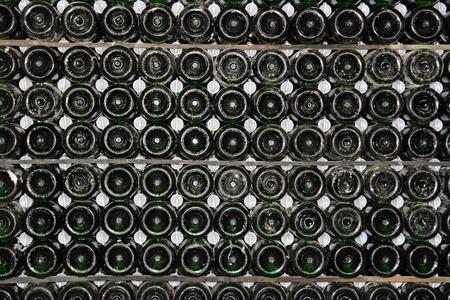 miry: Racks with bottles in a dark wine cellar