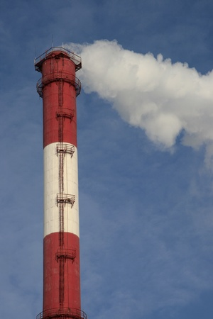 exhalation: Pipe of power station and smoke from it Stock Photo