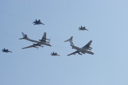 MOSCOW, RUSSIA - MAY 9  A group of planes flies in the sky at Victory Day celebration on May 9, 2009 in Moscow, Russia