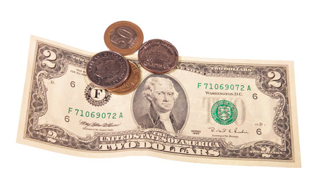 penury: Two-dollar denomination and some coins, isolated on a white background
