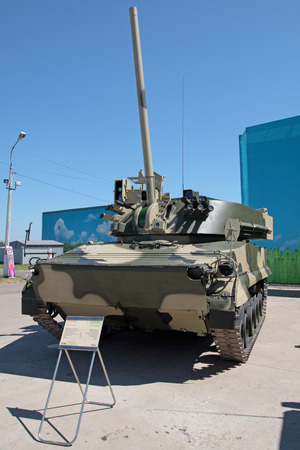 vena: ZHUKOVSKY, RUSSIA - JUL 1: The IV international salon of arms and military technology. Engineering technologies international forum on Jul 1, 2010 in Zhukovsky. The 2S31 Vena self-propelled 120 mm mortarcannon. Editorial
