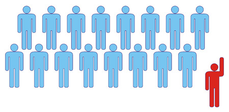 majority: Leader at front of a team group company congregation corporation or population of symbol people. Stock Photo