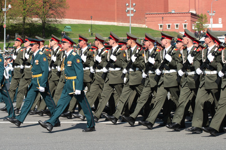 Group of soldiers go on Red Square  Victory Day celebrating on May, 9th, 2009 in Moscow