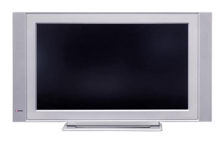 흰색 배경에 고립 된 액정 TV, 스톡 콘텐츠