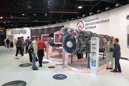 aeroengine: MOSCOW, RUSSIA - AUG 21: Aircraft engines at the International Aviation and Space salon MAKS. Aug, 21, 2011 at Zhukovsky, Russia