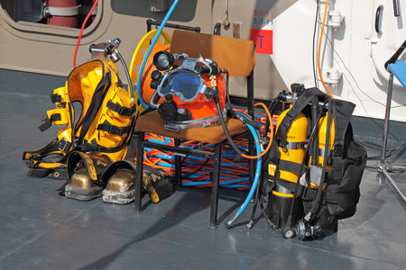 defense facilities: SAINT-PETERSBURG - JUN 30: Equipment for diving on the deck of a ship at the 5th international maritime defence show on Jun 30, 2011 at Lenexpo exhibition complex in Saint-Petersburg, Russia. Editorial