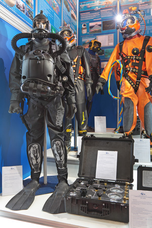 defense facilities: SAINT-PETERSBURG - JUN 30: Demonstration of the equipment diver at the 5th international maritime defence show on Jun 30, 2011 at Lenexpo exhibition complex in Saint-Petersburg, Russia.