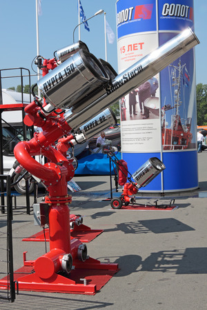 fire extinguishing: SAINT-PETERSBURG - JUN 30: Equipment for fire extinguishing at the 5th international maritime defence show on Jun 30, 2011 at Lenexpo exhibition complex in Saint-Petersburg, Russia. Editorial