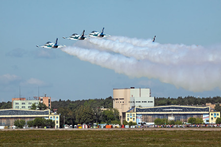rus: ZHUKOVSKY, RUSSIA - AUGUST 19: �erobatic team Rus on L39 planes take-off at the International Aviation and Space salon (MAKS) on August 19, 2011 in Zhukovsky, Russia