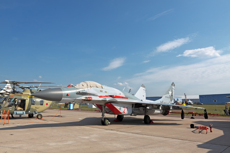 fulcrum: ZHUKOVSKY, RUSSIA - AUG 14: Mikoyan MiG-29 Fulcrum is fourth-generation jet fighter aircraft at the International Aviation and Space salon (MAKS) on August 14, 2011 in Zhukovsky, Russia