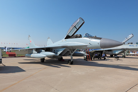 fulcrum: ZHUKOVSKY, RUSSIA - AUG 16: Mikoyan MiG-29 Fulcrum is fourth-generation jet fighter aircraft at the International Aviation and Space salon (MAKS) on August 16, 2011 in Zhukovsky, Russia