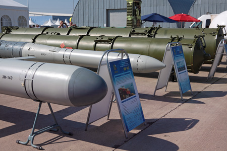 armaments: MOSCOW, RUSSIA - AUG 16: Cruise missiles Club-S and other weapons at the International Aviation and Space salon MAKS. Aug, 16, 2011 at Zhukovsky, Russia