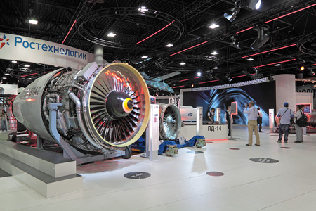 MOSCOW, RUSSIA - AUG 16: Aircraft engines at the International Aviation and Space salon MAKS. Aug, 16, 2011 at Zhukovsky, Russia
