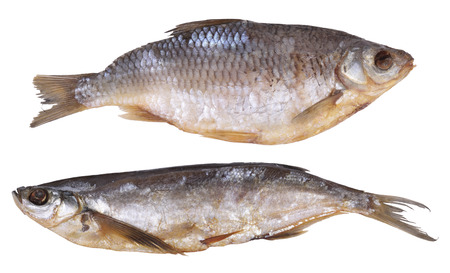 Two dried fishes, isolated on a white background