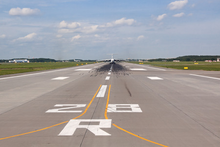 strips away: View of the runway with the plane away Stock Photo