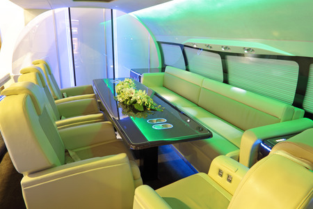 sumptuousness: The luxurious interior of the plane of business class Stock Photo