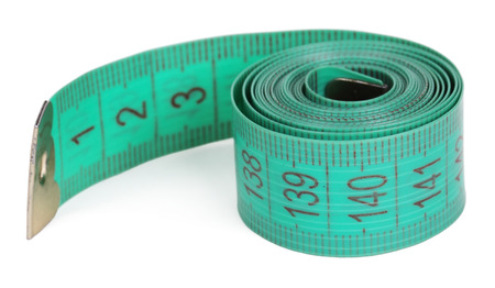 tapeline: Green tape-line isolated on a white background Stock Photo