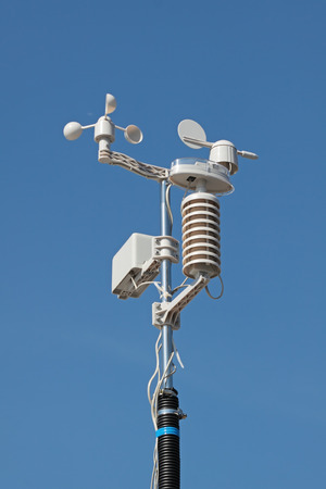 meteorological: Devices meteorological station on the blue background of the sky Stock Photo