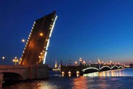 Diluted Trinity Bridge (Saint Petersburg) at night