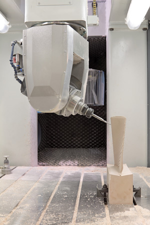 Woodworking CNC milling machine for manufacture of parts of a complex structure, closeup