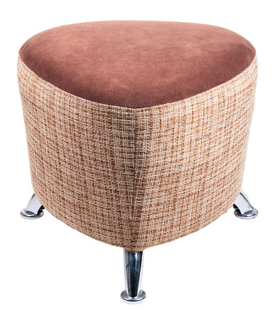Brown padded stool, isolated on a white background photo