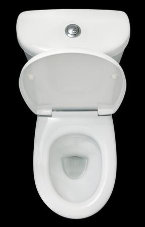 흰색 변기, 검은 배경에 고립, 상위 뷰