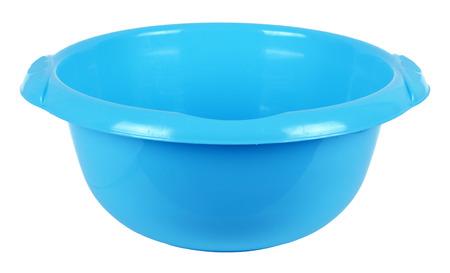 wash basin: Blue plastic basin, isolated on a white background Stock Photo