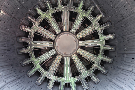 power within: Real nozzle of the exploitation gas turbine engine jet aircraft inside view Stock Photo